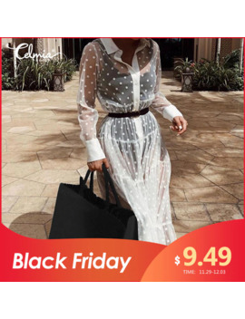 celmia-women-lace-cover-up-sheer-sexy-dress-2019-summer-transparent-see-through-polka-dot-button-casual-beach-dress-plus-size-7 by aliexpresscom