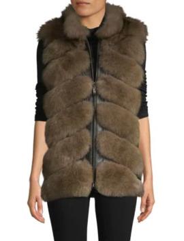 chevron-dyed-fox-fur-&-leather-vest by belle-fare