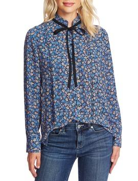 floral-cluster-tie-neck-blouse by cece