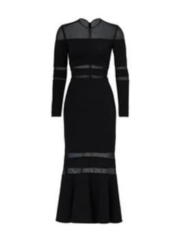 Black Illusion Trumpet Dress by Nicole Miller