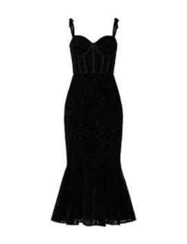 Velvet Ruffle Hem Midi Dress by Ml Monique Lhuillier