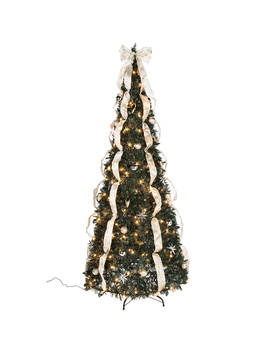 7-silver-&-gold-pull-up-christmas-tree-by-holiday-peak,-pre-lit-and-fully-decorated,-collapses-for-easy-storage by holiday-peak