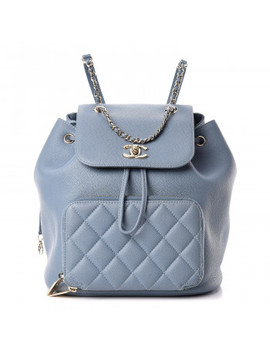 chanel-caviar-quilted-business-affinity-backpack-light-blue by chanel
