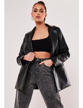 black-faux-leather-oversized-masculine-blazer by missguided