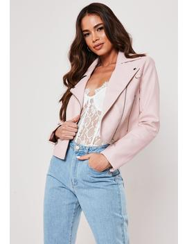 pink-ultimate-boxy-faux-leather-biker-jacket by missguided
