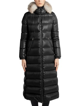 hudson-long-quilted-down-coat-with-genuine-fox-fur-trim by moncler