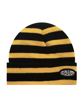 Striped Beanie In Yellow by Petals And Peacocks