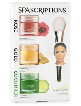 spascriptions-3-pack-gel-face-mask-(rose,-gold,-cucumber)-w-applicator,-17-nib by global-beauty-care