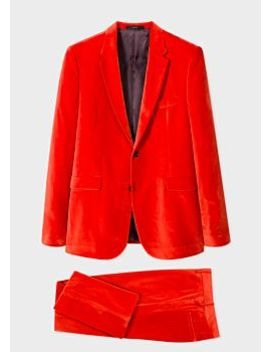 Men's Slim Fit Bright Red Velvet Suit by Paul Smith