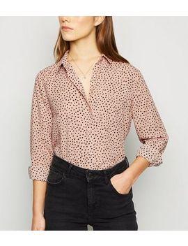 petite-pink-spot-print-long-sleeve-shirt by new-look