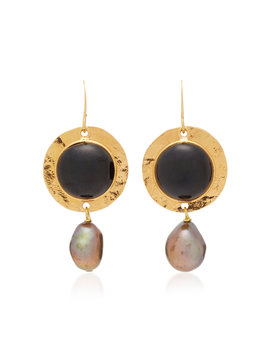 24k-gold-plated,-bead-and-faux-pearl-earrings by loulou-de-la-falaise