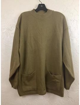 nwot-90s-vintage-tan-green-oversized-pull-over-sweater-dress-with-front-pockets-by-ostrich,-80s-green-grandma-sweater,-vintage-new-old-stock by etsy