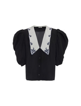 collared-v-neck-silk-top by miu-miu