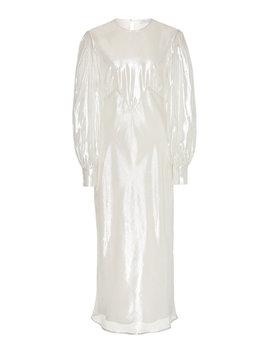 aureta-silk-lamé-midi-dress by olivia-von-halle