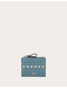 Rockstud Calfskin Cardholder With Zipper by Valentino Garavani