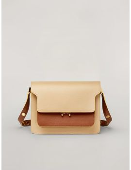 Trunk Bag In Smooth Calf Beige Brown And Green by Marni