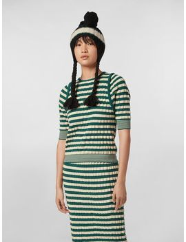 Wandering In Stripes Striped Knit Wool Sweater With Embossed Effect by Marni