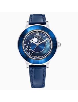 octea-lux-moon-watch,-leather-strap,-dark-blue,-stainless-steel by swarovski