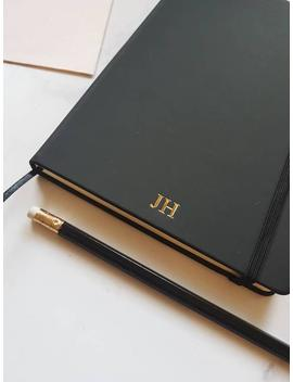personalised-notebook-with-plain_blank-pages,-a5-black-sketchbook-journal,-initials_monogram-custom-desk-office-gift,-fathers-day by etsy