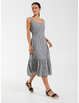 linen-blend-shirred-waist-midi-dress by dotti