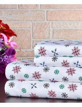 Colorful Snowflake Cotton Flannel Sheet Set by Trade Linker International Lnc.