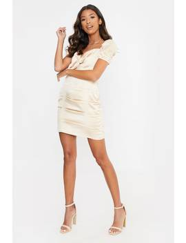fashion-influx-cream-tie-front-ruched-mini-dress by in-the-style