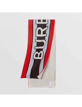 Logo Wool Blend Jacquard Scarf by Burberry