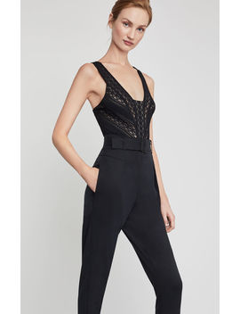Sleeveless Striped Lace Bodysuit by Bcbgmaxazria