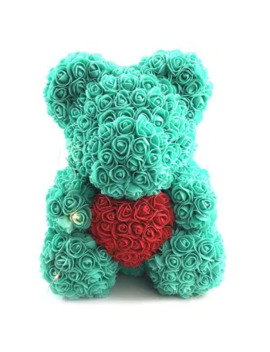 Valentines Birthday Gift Rose Color Matching Flower Bear 40cm by Dress Lily