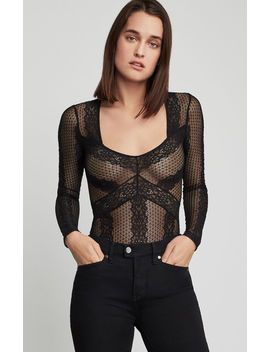 Striped Floral Lace Bodysuit by Bcbgmaxazria