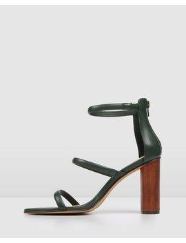 Phoenix High Heel Sandals Green Leather by Jo Mercer