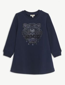 beaded-logo-cotton-sweater-dress-4-14-years by kenzo