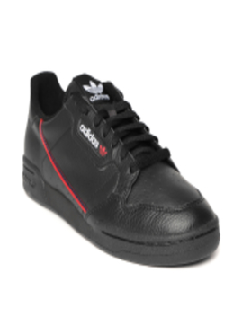 men-black-continental-80-leather-sneakers by adidas-originals