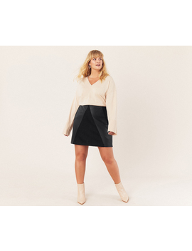 Curve Faux Leather Skirt* by Oasis