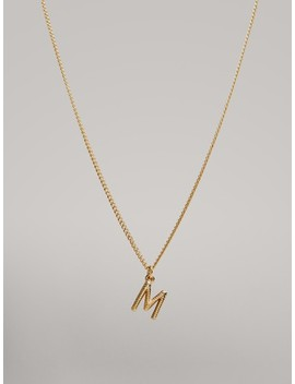 gold-plated-letter-m-necklace by massimo-dutti