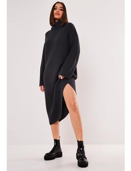 Grey Knitted Roll Neck Midaxi Jumper Dress by Missguided