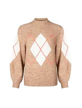 argyle-camel-brown-knitted-jumper by olivar-bonas