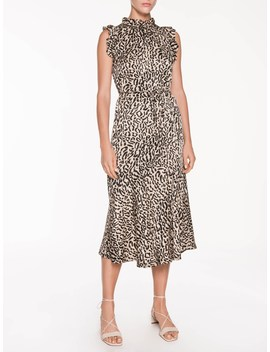 Animal Jacquard Frill Midi Dress by Veronika Maine