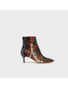 tamara-orange-snake-print-ankle-boots by lkbennett