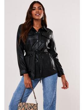 black-faux-leather-utility-jacket by missguided