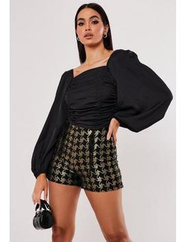 gold-dogtooth-jacquard-tailored-shorts by missguided