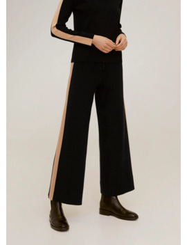 contrasting-bands-knit-trousers by mango