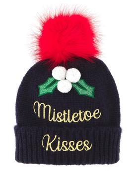 Mistletoe Kisses Novelty Bobble Hat by Simply Be