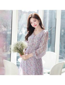 myfiona---v-neck-floral-chiffon-dress by myfiona
