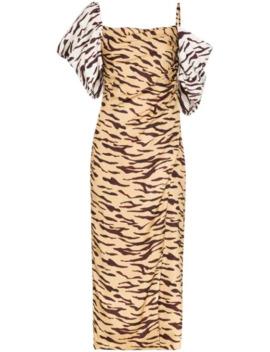 amelia-off-shoulder-tiger-print-dress by rejina-pyo