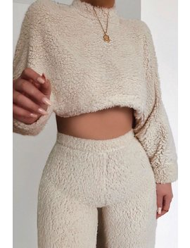 Cream Teddy Jumper And Wide Leg Trouser Co Ord by Lasula