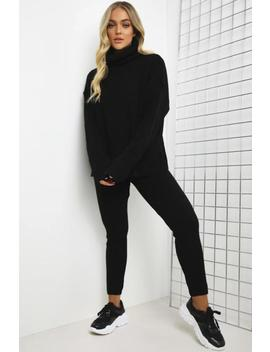 black-oversized-roll-neck-co-ord by lasula