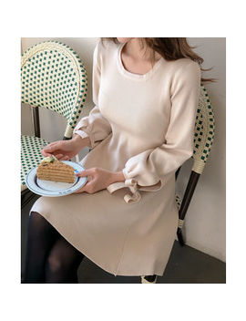 cherryville---beribboned-sleeve-a-line-knit-dress by cherryville