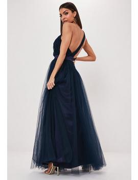 navy-tulle-one-shoulder-maxi-dress by missguided