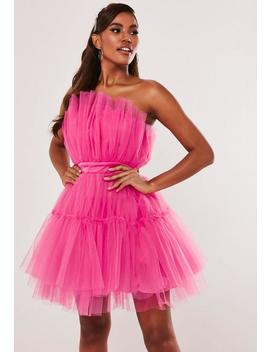 pink-bandeau-oversized-tulle-dress by missguided